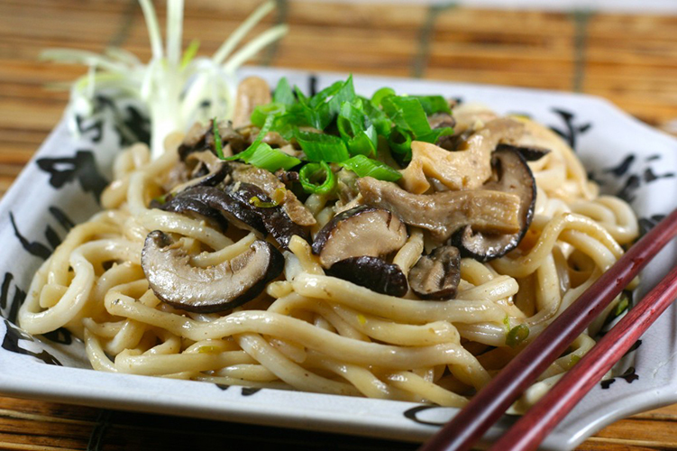 Udon Noodles and Wild Mushrooms with Miso Butter